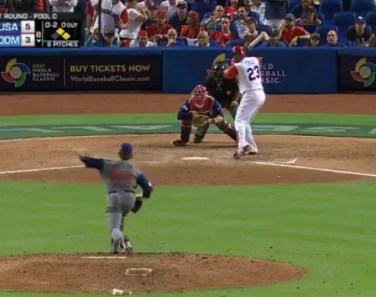 Miller releasing a slider to Nelson Cruz.