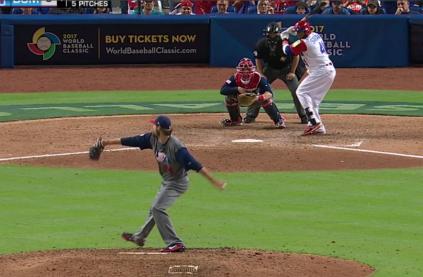 Miller throwing a fastball to Carlos Santana.