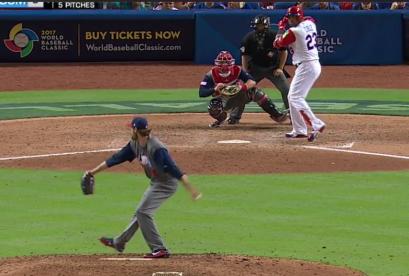 Miller throwing a slider to Nelson Cruz.