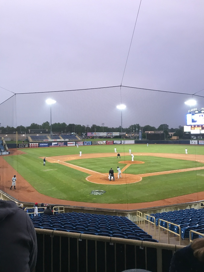 The view behind home plate while it rained in the later innings.